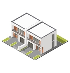 Two story connected cottage with flat roof vector