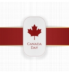 Canada day paper label with red ribbon vector