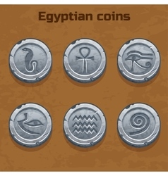 Old silver egyptian coins game element vector