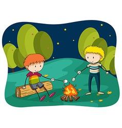 Boys at bornfire grilling food vector