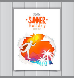Businessman go to summer poster vector