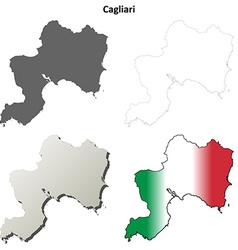 Cagliari blank detailed outline map set vector