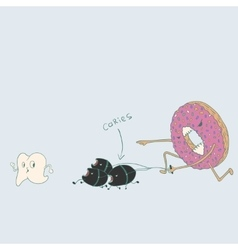 Doughnut with caries run for tooth vector