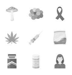 Drugs set icons in monochrome style Big vector image
