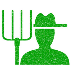farmer with pitchfork icon grunge watermark vector image vector image