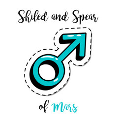 Fashion patch shield and spear of mars vector