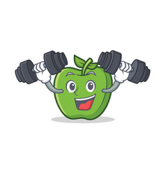 Fitness green apple character cartoon vector