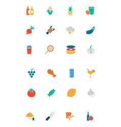 Food and drinks colored icons 16 vector