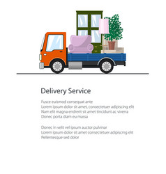 Freight car is transporting furniture flyer vector