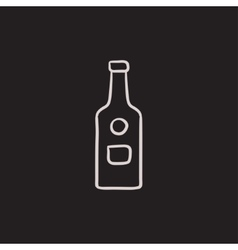 Glass bottle sketch icon vector image vector image