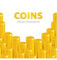 gold coins piles cartoon template vector image vector image