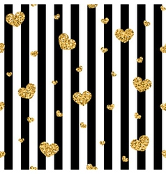 Golden hearts stripes seamless pattern vector