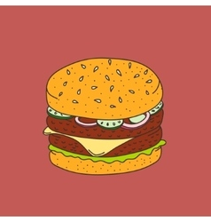 Han-drawn cartoon-style hamburger vector