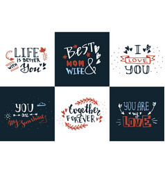 hand drawn doodle sketch love quotes set vector image vector image