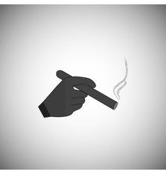hand holding a smoking cigarette vector image vector image