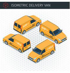 isometric delivery van vector image vector image