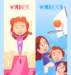 kids sport vertical banners vector image