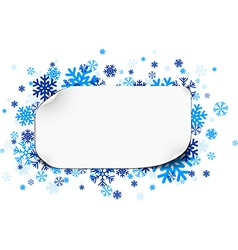 Paper note over snowflakes vector