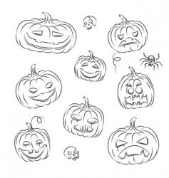 pumpkins sketched vector image
