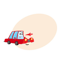 red car character pointing to something with its vector image vector image