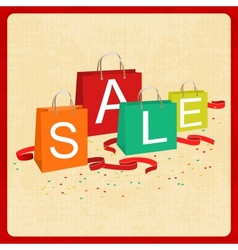 shopping bags and sale text in vintage style vector image vector image