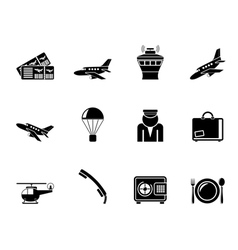 Silhouette airport and travel icons vector