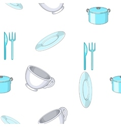 Tableware pattern cartoon style vector