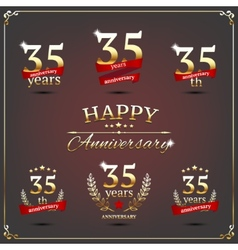 Thirty five years anniversary signs collection vector