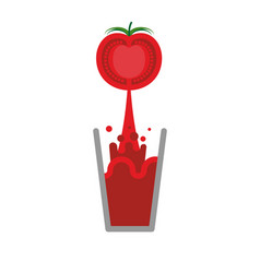 tomato juice glass isolated nectar from tomatoes vector image