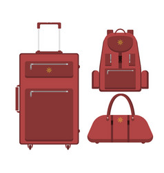 Travel suitcase bag and backpack vector