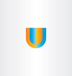 u letter logo orange blue icon vector image vector image