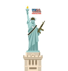 Usa protection statue of liberty with gun symbol vector