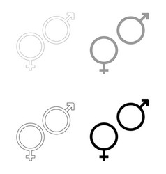 Venus and mars symbol the black and grey color vector