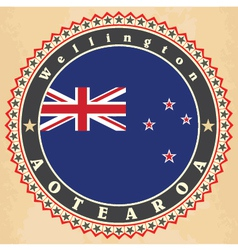 Vintage label cards of new zealand flag vector