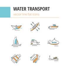 Water transport flat linear icons vector