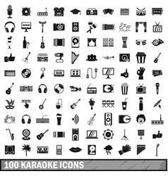 100 karaoke icons set simple style vector