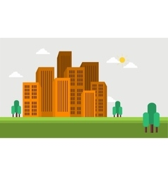 Flat town skyline of silhouette vector image