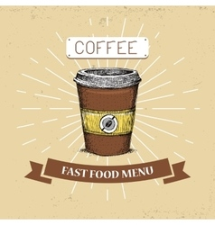 Coffee fast food in vintage vector