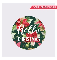 Christmas pine tree and flowers graphic design vector