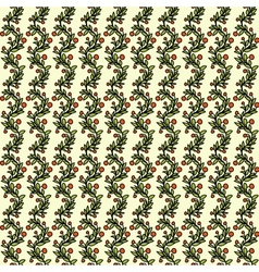 Seamless pattern with evergreen branches and red vector