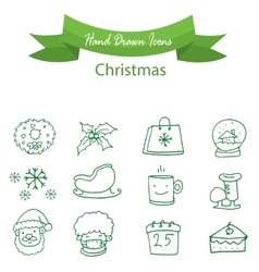 Green icon christmas holiday vector