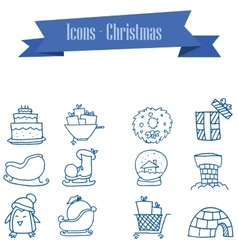 Object of holiday and christmas icons set vector
