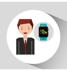 cartoon man smart watch and jogging icon vector image