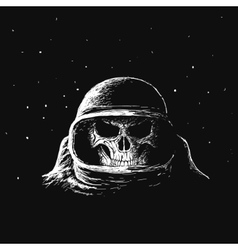 Skull astronaut in outer space vector image