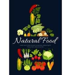 Natural vegetarian vegetables food poster vector