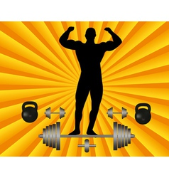 Athlete with a barbell and dumbbell weights vector