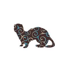 Ferret weasel ermine mammal color silhouette vector