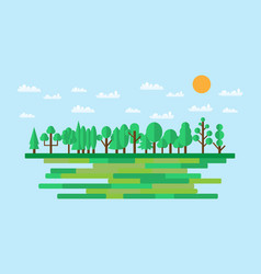 Forest in flat style summer eco lifestyle vector