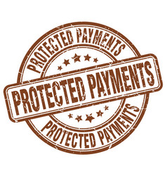 Protected payments brown grunge stamp vector