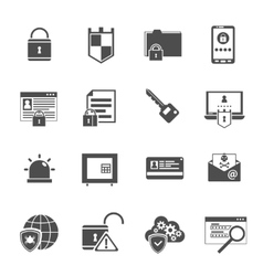 Computer security icons set black vector